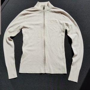 BCBG MaxAzria Sweater Zippered Top Medium Cream